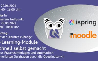22.6.2021 E-Learning-Module schnell selbst gemacht – aus Präsenzunterlagen und automatisch generierten Quizfragen durch die Questinator-KI!